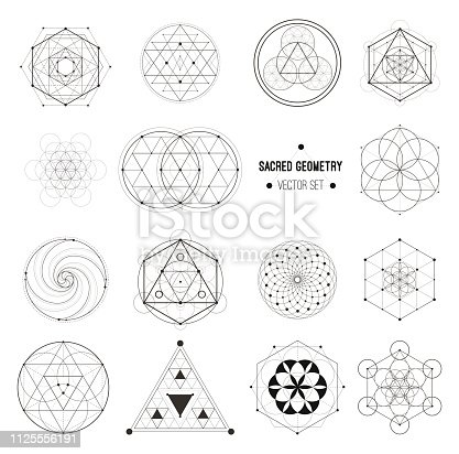 Sacred geometry vector design elements. Alchemy, religion, philosophy, spirituality, hipster symbols and elements. Vector set.