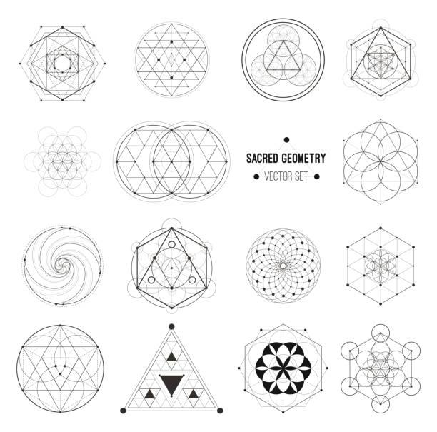 vector set of sacred geometry symbols - духовность stock illustrations
