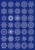 Big Vector Set of Sacred Geometry Symbols. Elements for abstract, mystical, religious projects. White signs over blue background