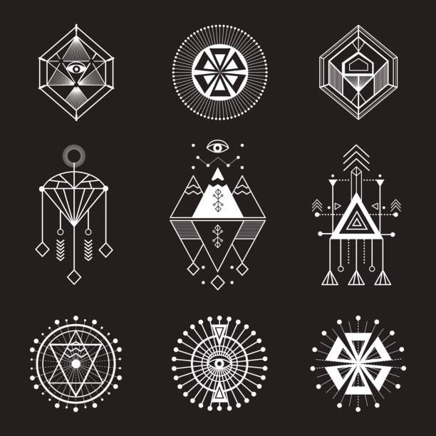 vector set of sacred geometry - bohemian fashion stock illustrations, clip art, cartoons, & icons