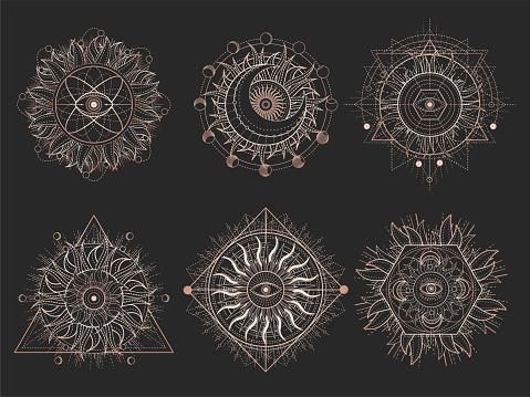 Vector set of Sacred symbols and geometry figures on black background.