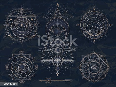 Vector set of Sacred symbols with moon, eye, sun and geometric figures on dark vintage background. Abstract mystic signs collection drawn in lines. Image in blue color.