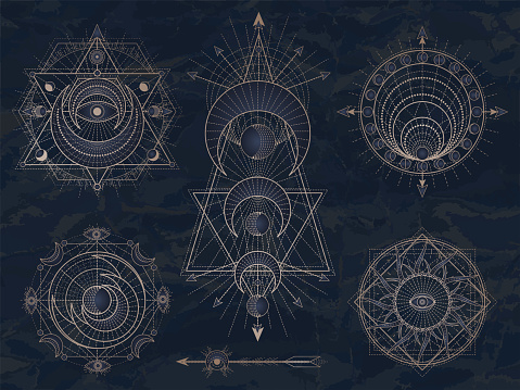 Vector set of Sacred symbols with moon, eye, sun and geometric figures on dark vintage background. Abstract mystic signs collection.