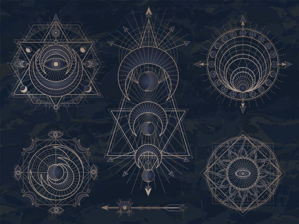 Vector set of Sacred symbols with moon, eye, sun and geometric figures on dark vintage background. Abstract mystic signs collection. Vector set of Sacred symbols with moon, eye, sun and geometric figures on dark vintage background. Abstract mystic signs collection drawn in lines. Image in blue color. alchemy stock illustrations