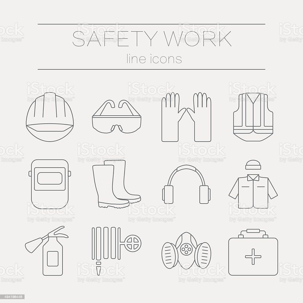 Vektor-Satz von Symbolen, Sicherheit arbeiten und tools. – Vektorgrafik