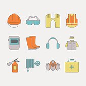 Vector set of safety work icons, including tools.