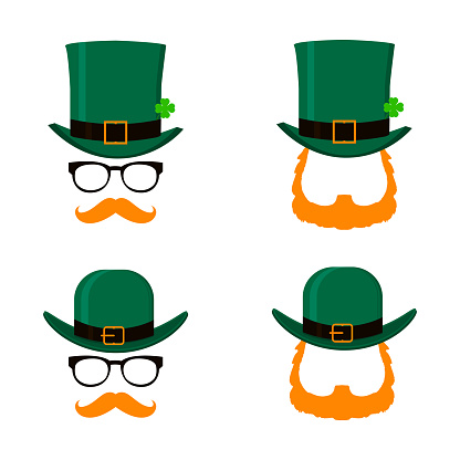 Vector set of Saint Patrick's Day character leprechaun with green hat, red beard and no face. Design elements for St. Patricks Day. Isolated on white background.