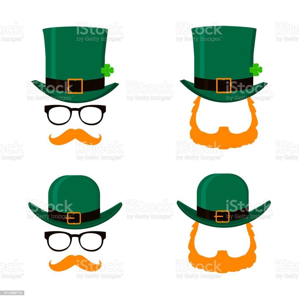緑の帽子、赤ひげ顔と聖パトリックの日文字レプラコーンのベクトルを設定しません。聖パトリックデーのデザイン要素です。白い背景上に分離。 ベクターアートイラスト
