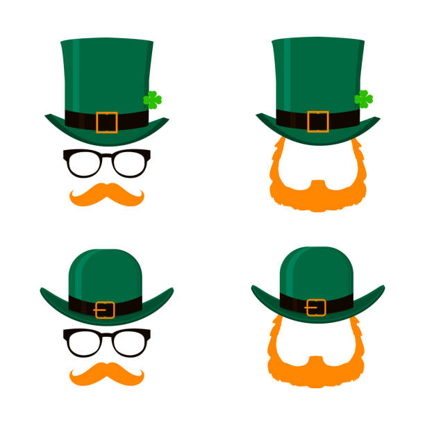 Vector set of Saint Patrick's Day character leprechaun with green hat, red beard and no face. Design elements for St. Patricks Day. Isolated on white background. vector art illustration