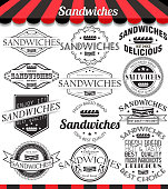 Vector set of sandwiches retro vintage labels and logos