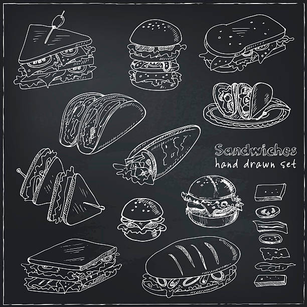 vector set of sandwiches - delis stock illustrations