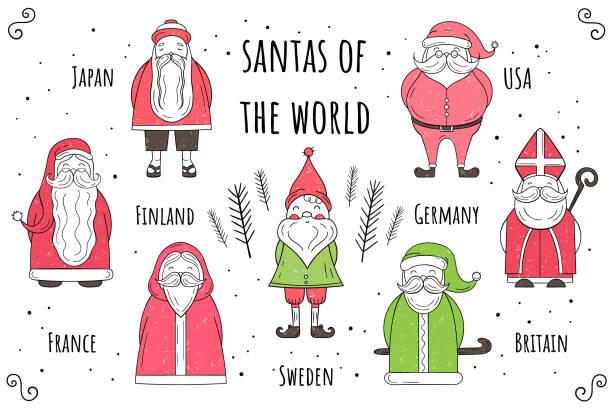 bildbanksillustrationer, clip art samt tecknat material och ikoner med vector uppsättning jultomten världen. platt stil. jul och nyår illustration - lucia