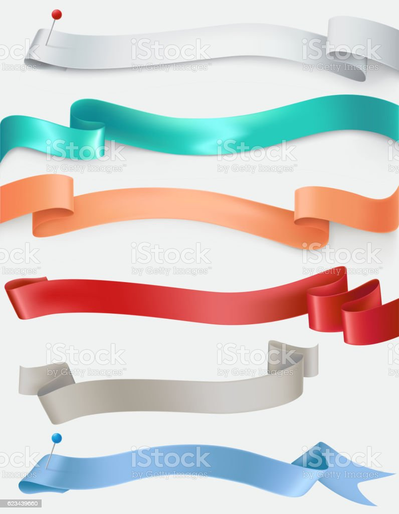 Vector set of satin ribbons in different colors vector art illustration