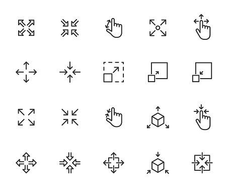Vector set of scaling line icons. Contains icons resize, increase, decrease, scalability and more. Pixel perfect.