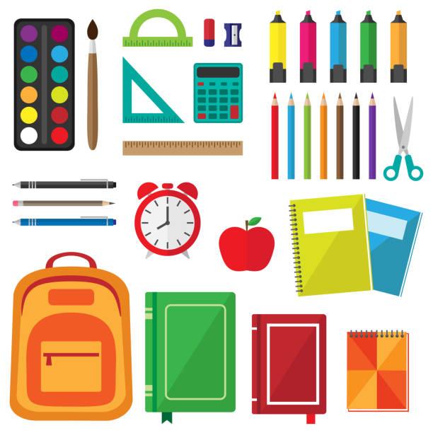 wektor zestaw przyborów szkolnych - pióro przyrząd do pisania stock illustrations