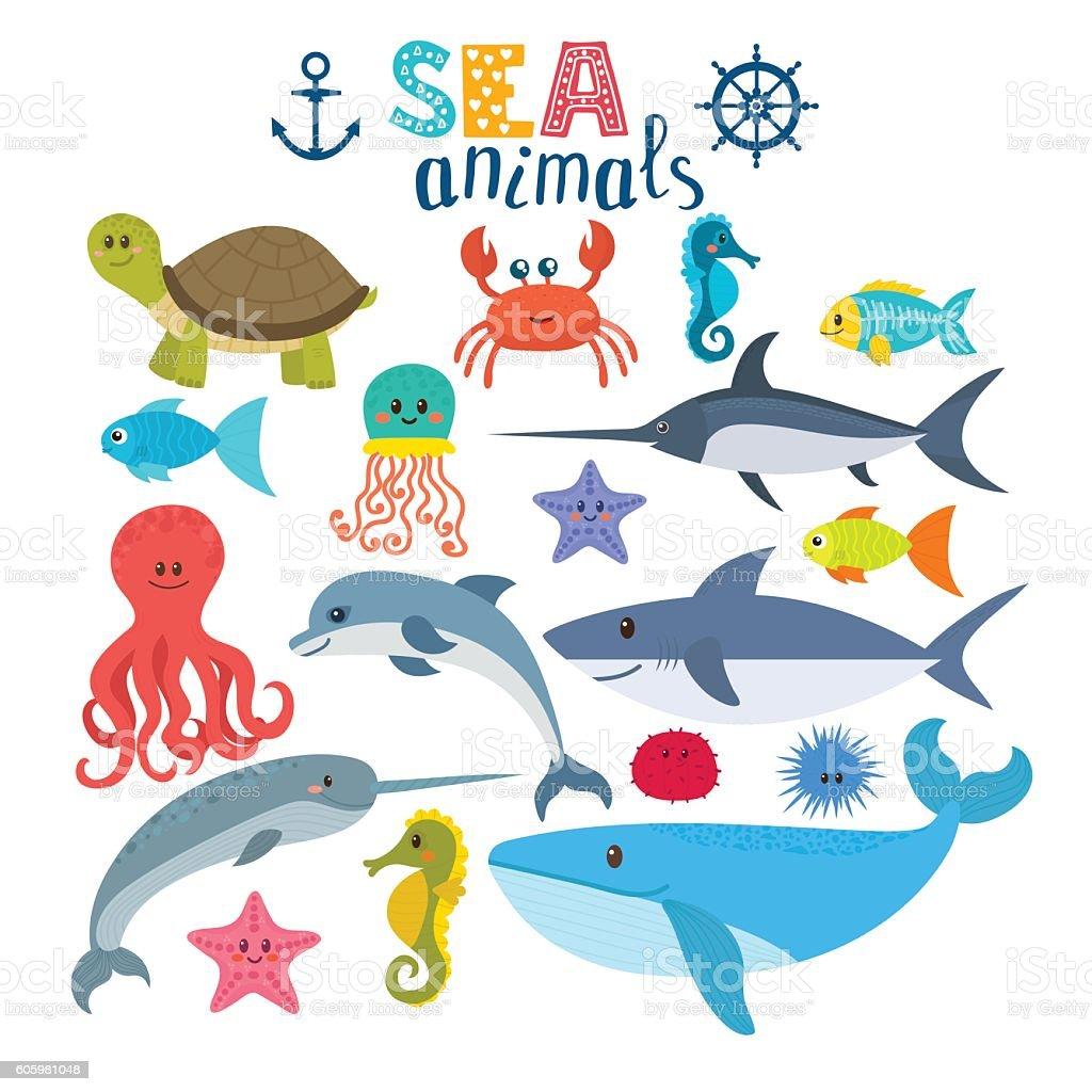 Vector set of sea creatures. Cute cartoon animals - ilustración de arte vectorial