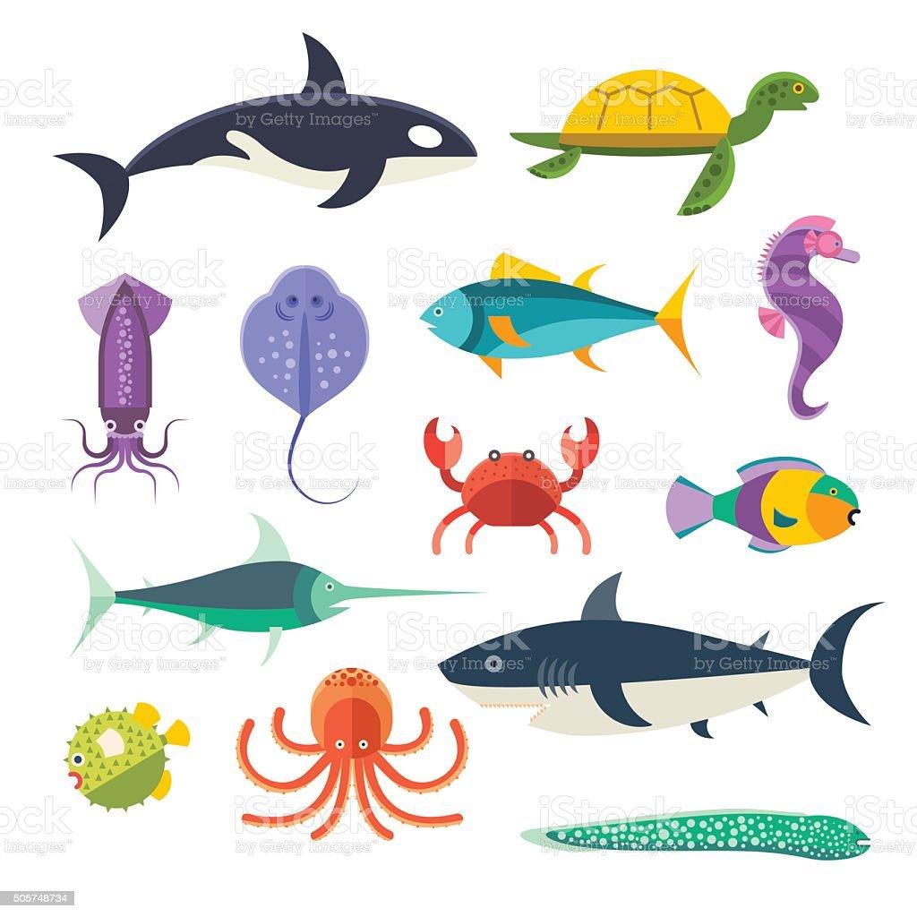 Vector set of sea marine fish and animals vector art illustration