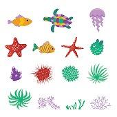 Vector set of sea marine fish, animals, plants