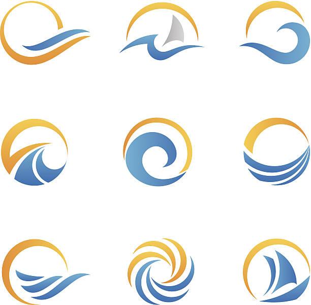 Vector set of sea symbol icons vector art illustration