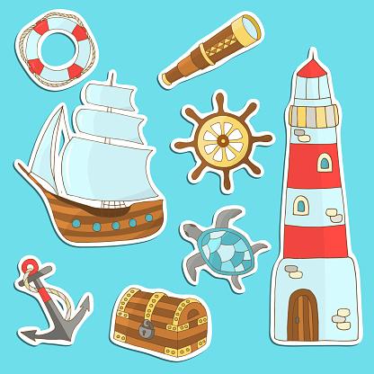 Vector set of sea theme stickers
