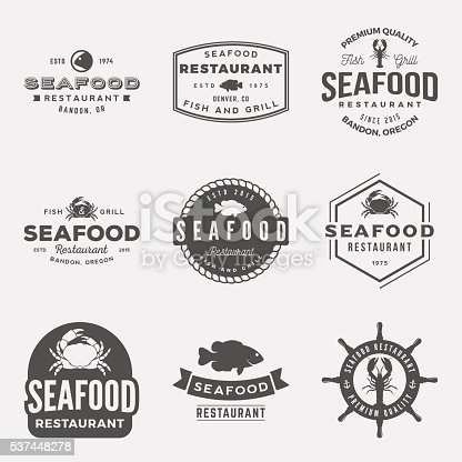 vector set of seafood restaurant vintage logos, emblems, silhouettes and design elements. logotype templates and badges with fish, crab, lobster