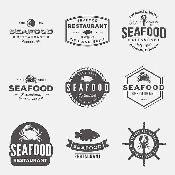 vector set of seafood restaurant vintage logos, emblems, silhoue vector set of seafood restaurant vintage logos, emblems, silhouettes and design elements. logotype templates and badges with fish, crab, lobster seafood stock illustrations