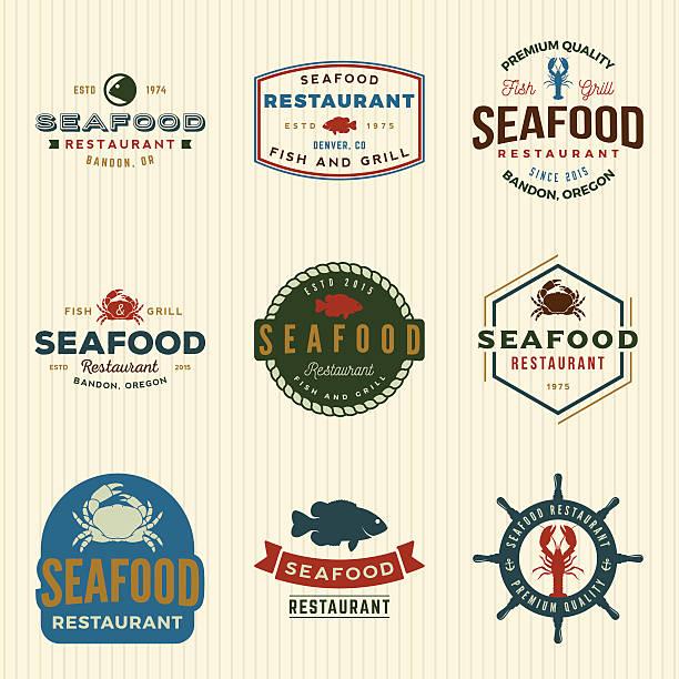 illustrazioni stock, clip art, cartoni animati e icone di tendenza di vettoriale vintage pesce ristorante gruppo di loghi, emblemi, plw - banchi di pesci