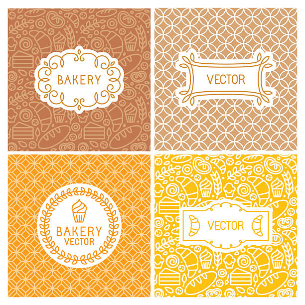 Vector set of seamless backgrounds with frames and labels Vector set of seamless backgrounds with frames and labels - bakery concepts and menu covers in trendy linear style with outlne icons bread designs stock illustrations