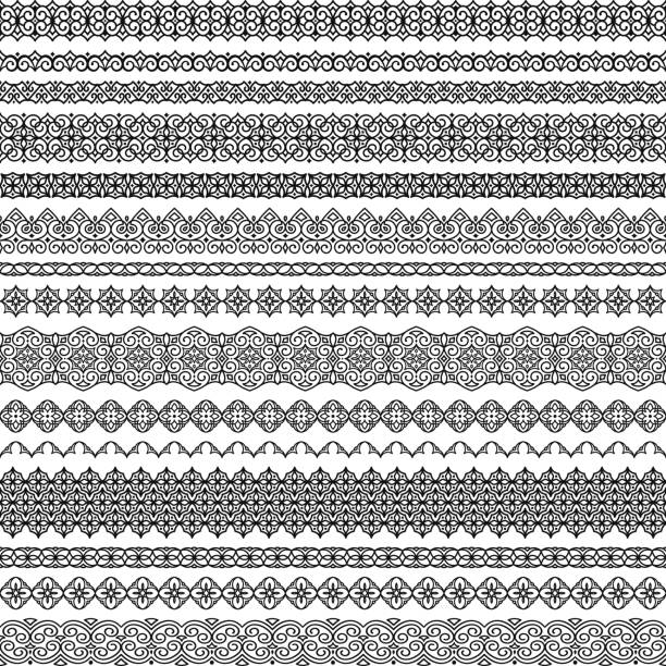 Vector set of seamless brushes in oriental motifs. Brushes included in file Vector set of fancy seamless brushes in oriental motifs. For frames, boarders, braid, edging in the lush eastern style. Traditional patterns for design of greeting cards, wedding invitations, textiles morocco stock illustrations