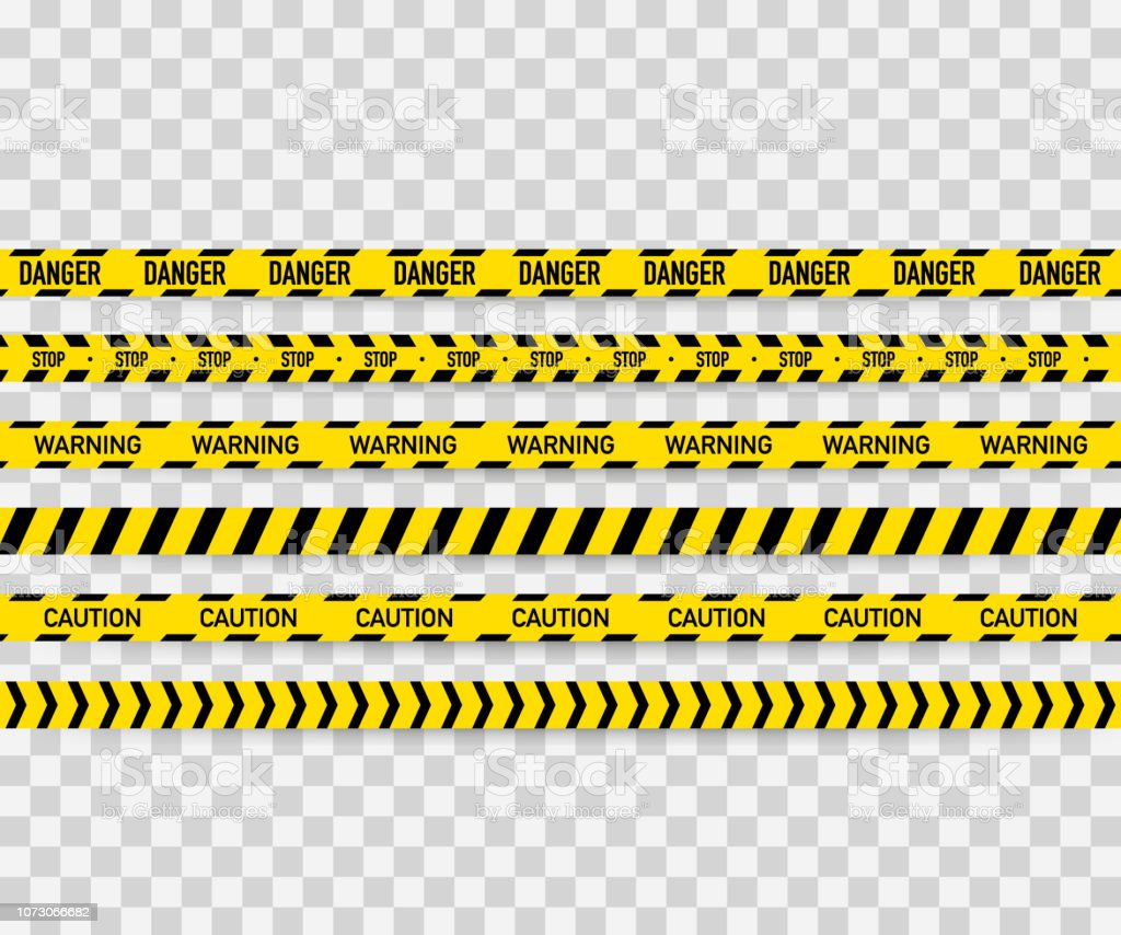 Vector set of seamless caution tapes. Warning tape, danger tape, caution tape, danger tape, under construction tape. Vector illustration - Royalty-free Abaixo arte vetorial