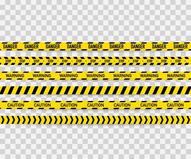 ilustrações de stock, clip art, desenhos animados e ícones de vector set of seamless caution tapes. warning tape, danger tape, caution tape, danger tape, under construction tape. vector illustration - tape
