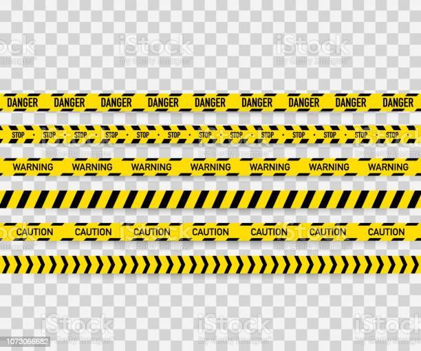 Vector Set Of Seamless Caution Tapes Warning Tape Danger Tape Caution Tape Danger Tape Under Construction Tape Vector Illustration - Arte vetorial de stock e mais imagens de Abaixo