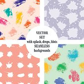 Vector set of seamless patterns, tiles with inc splash, blots, smudge and brush strokes. Grunge endless template for web background, prints, wallpaper, surface, wrapping, repeat elements for design.