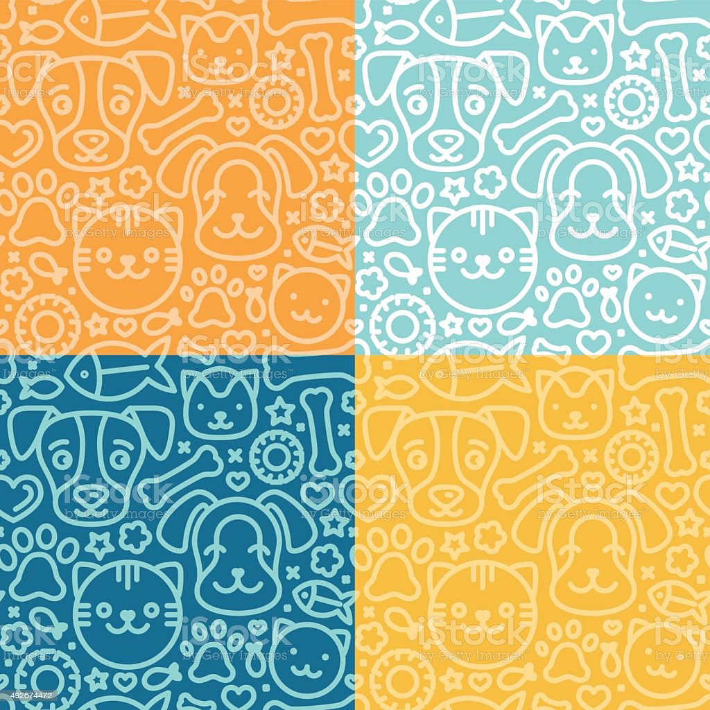 Vector set of seamless patterns vector art illustration