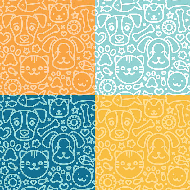 vector set of seamless patterns - pets stock illustrations, clip art, cartoons, & icons