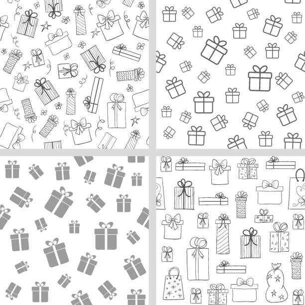 Vector set of seamless patterns with gift boxes. Hand drawn, lineart present boxes Vector set of seamless patterns with gift boxes. Hand drawn, lineart present boxes. Monochrome backgrounds for Christmas, birthday design anniversary patterns stock illustrations