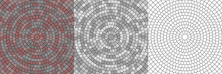 Vector set of seamless round pavement textures of street tiles. Circle repeating patterns of radial cobble stone material background