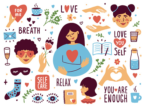 Vector set of self care icons with cute illustrations about love to yourself