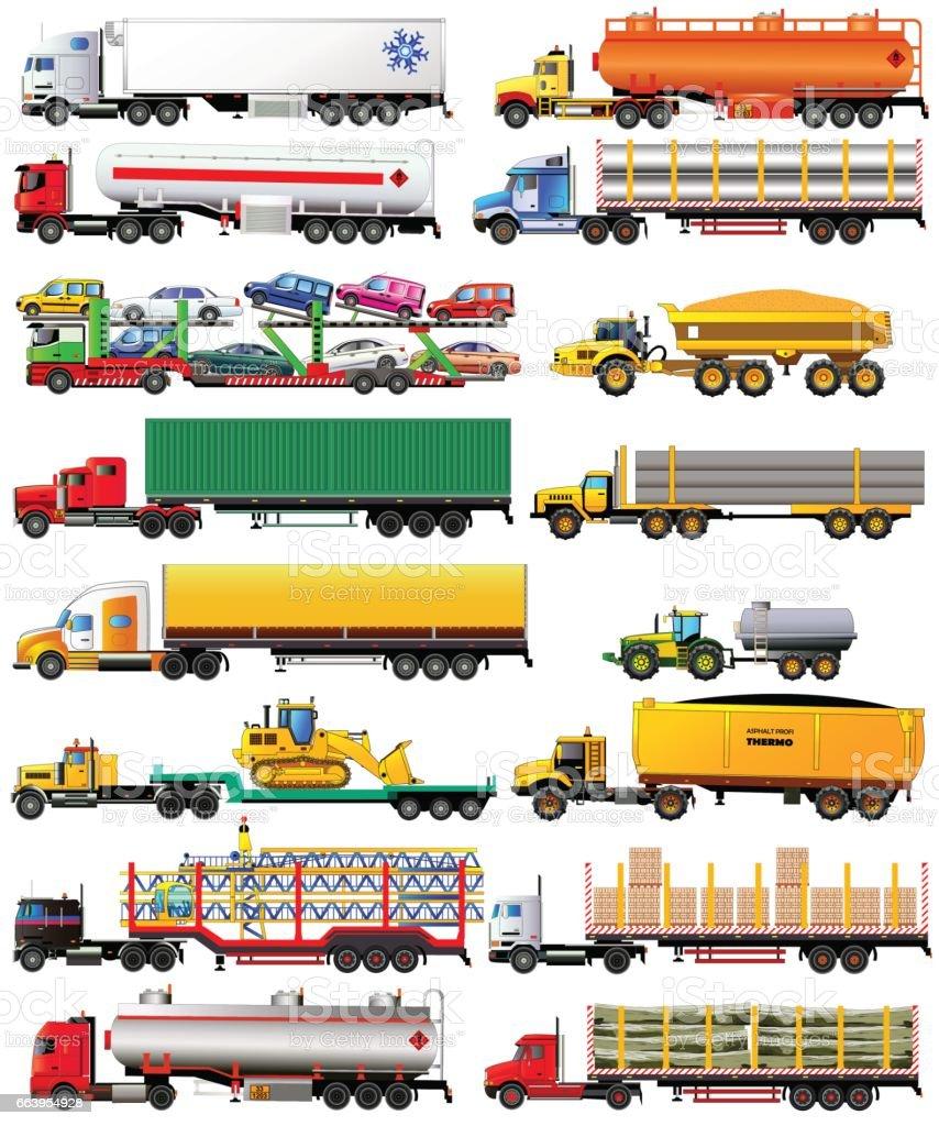 Vector set of semi-trailer trucks. Isolated on white