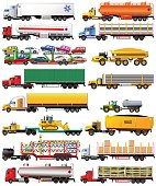 Vector set of semi-trailer trucks. Detailed, side view, icons. Isolated on white. Flat style