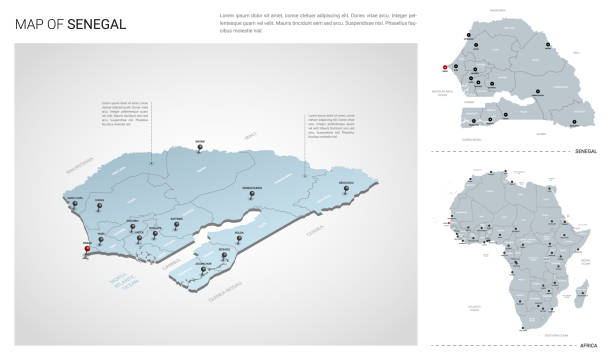 vector set of senegal country.  isometric 3d map, senegal map, africa map - with region, state names and city names. - senegal stock illustrations