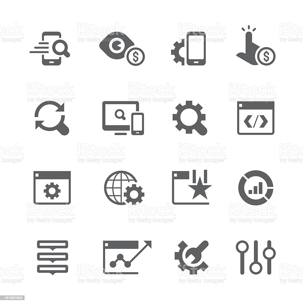 Vector set of SEO services icons vector art illustration