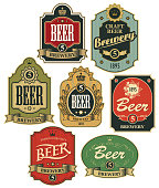 Vector set of ornate beer labels in figured frames with ribbons and crowns in retro style.