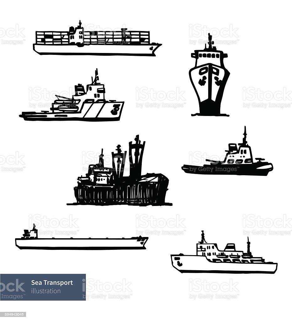 Vector Set of Ship Boat Illustrations. vector art illustration