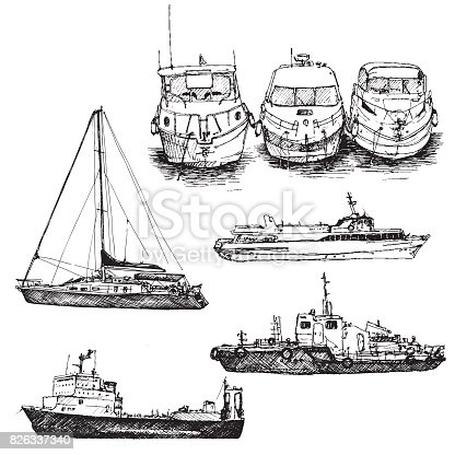 vector set of line drawing ships and boats, hand drawn illustration