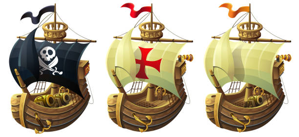 vector set of ships illustration. A commercial and pirate ship with a cannon. vector set of ships isolated on white background. A commercial and pirate ship with a cannon. pirate ship stock illustrations