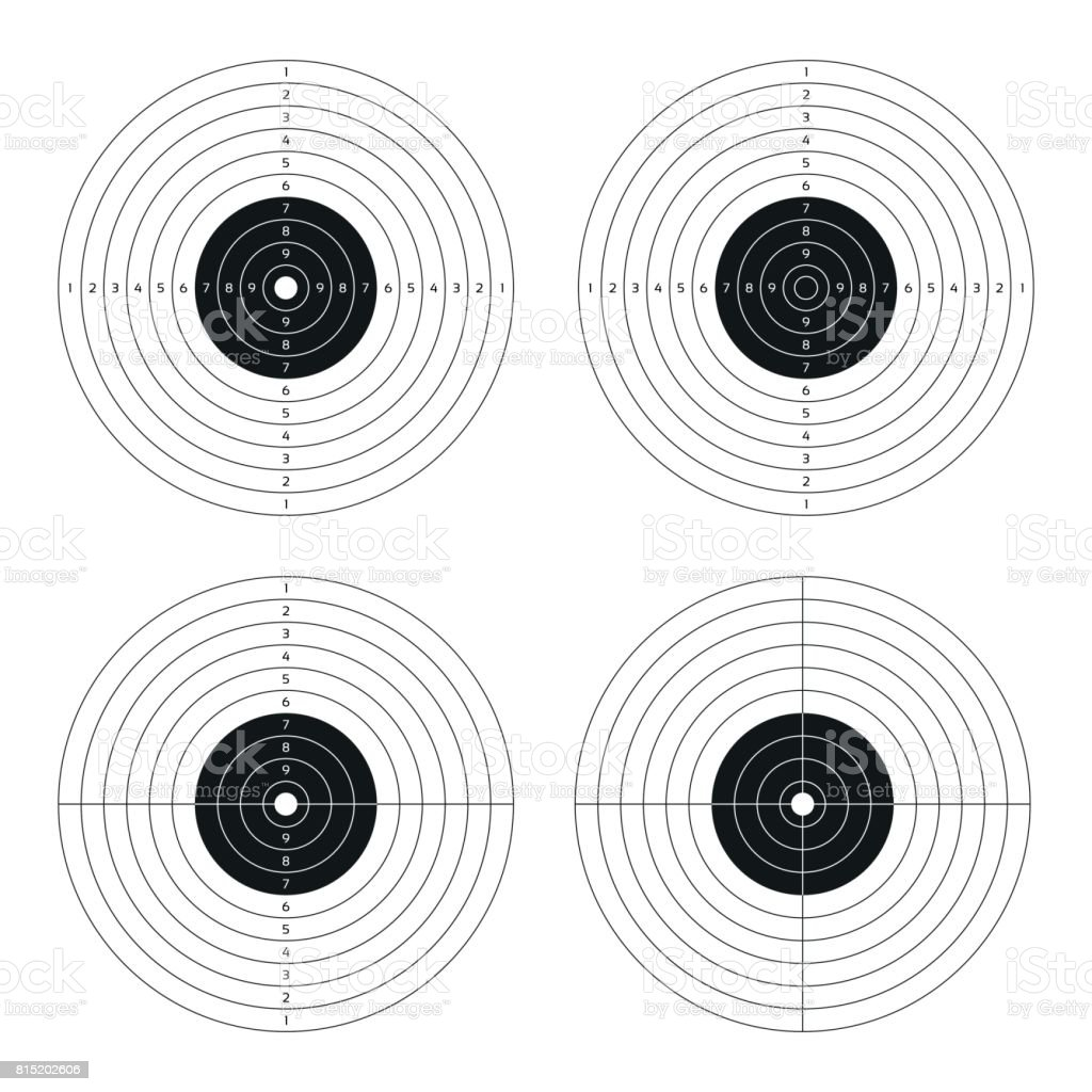 Vector Set Of Shooting Targets Blank Pistol Template For Printing