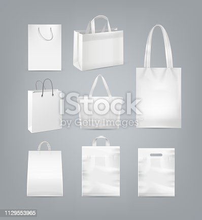 Vector set of shopping bags with handle made from white paper, plastic and canvas isolated on background