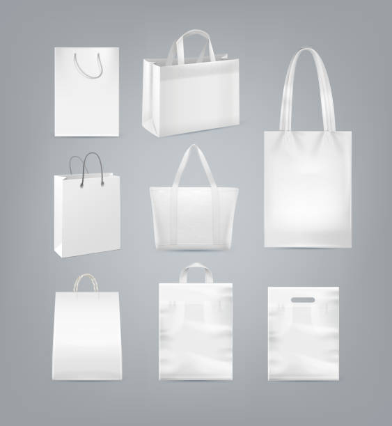 ilustrações de stock, clip art, desenhos animados e ícones de vector set of shopping bags with handle made from white paper, plastic and canvas isolated on background - tote bag
