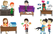Vector set of shopping people characters